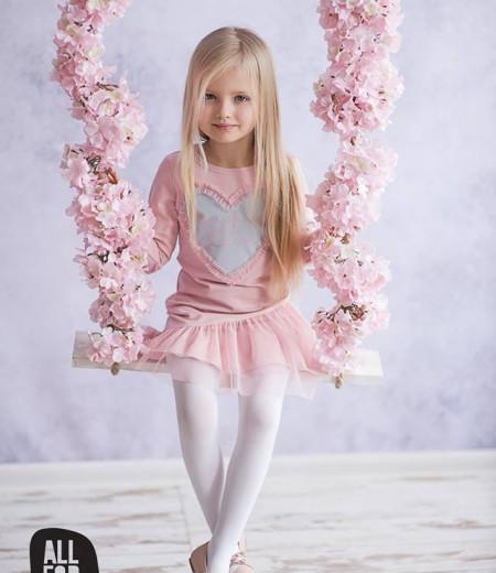 sukienka all for kids róż serduszko