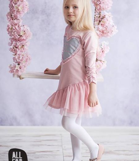 sukienka all for kids róż serduszko 2