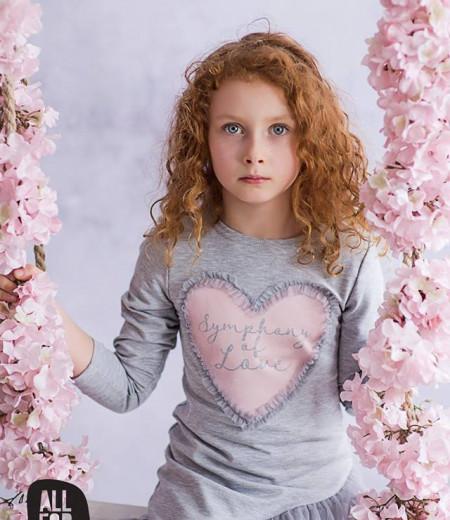 sukienka szara serduszko all for kids