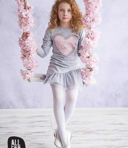 sukienka szara serduszko all for kids 1