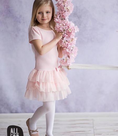 sukienka róż falbanki all for kids