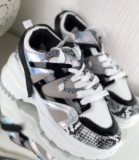 Białe buty na grubej podeszwie