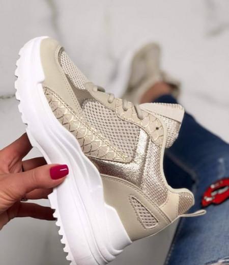 Beżowe sneakersy na ukrytym koturnie