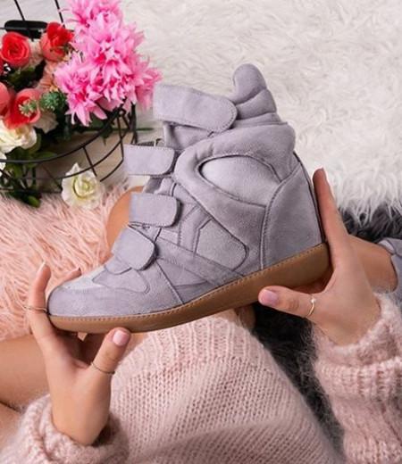 Jasnoszare sneakersy na koturnie