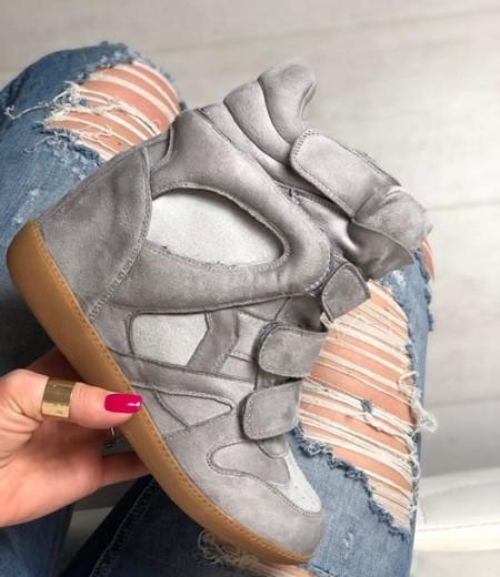 Jasnoszare sneakersy na koturnie 2