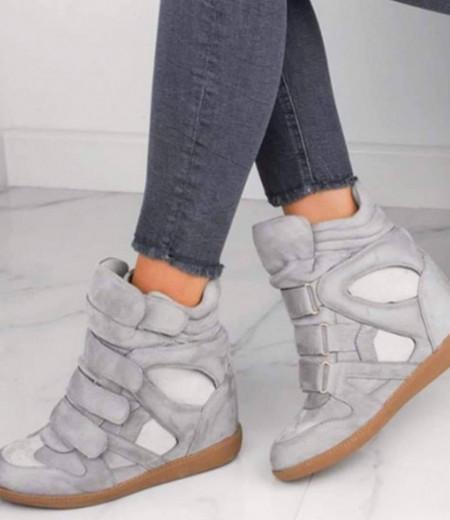 Jasnoszare sneakersy na koturnie 1
