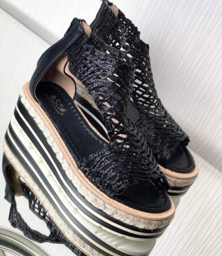 Czarne sandały na platformie 2