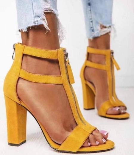 Żółte zamszowe sandały na słupku 2