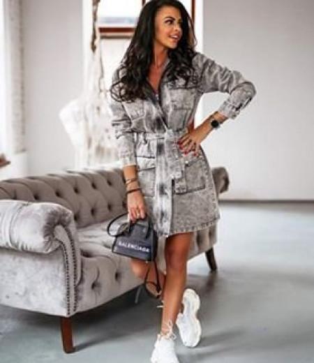 Sukienka jeansowa LONDON LOOK szara 1
