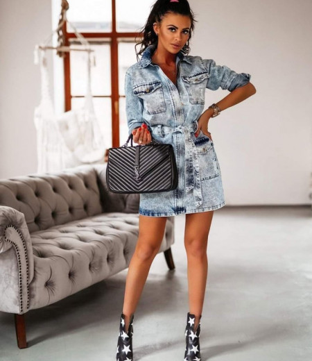Sukienka jeansowa LONDON LOOK niebieska 1