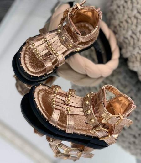 Sandały dziewczęce w kolorze szampańskim 2