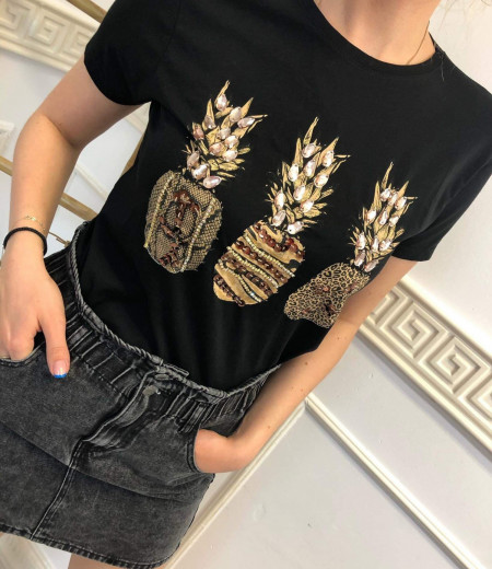 Czarny T-shirt Pineapple