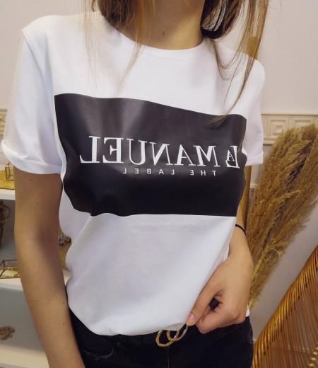 Biały T-shirt LA MANUEL