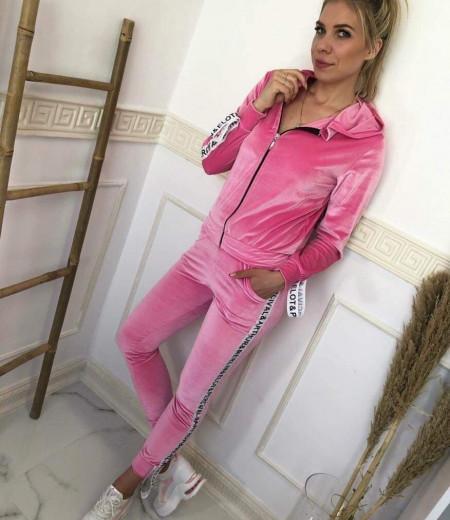Welurowy dres Light Pink