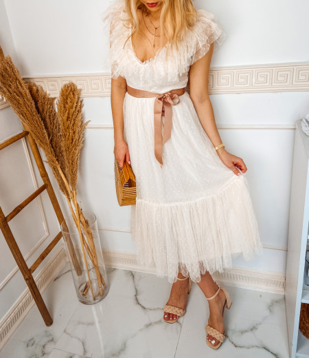 sukienka MARIA long ecru 1