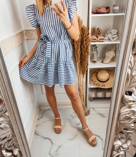 Sukienka STRIPES BLUE white